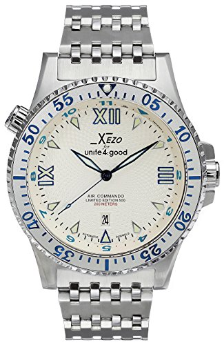 Xezo Men's Air Commando Japanese-Automatic Dive Luxury Watch D45-SS. 2nd Time Zone ()