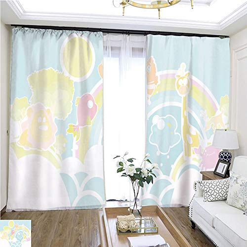 Cartoon Curtain Series Cute Animal Wallpaper W96 x L228 Lemon Linen Loop top Curtain Highprecision Curtains for bedrooms Living Rooms Kitchens etc. ()