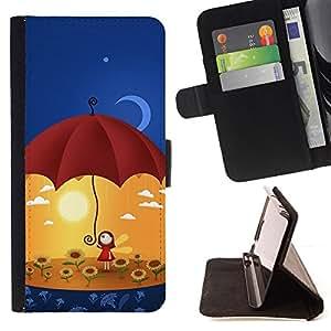 - MOON ART UMBRELLA YELLOW FLOWERS SUN - - Prima caja de la PU billetera de cuero con ranuras para tarjetas, efectivo desmontable correa para l Funny HouseFOR Sony Xperia Z1 L39