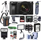 Sony Alpha A6500 Mirrorless Camera with 18-135mm f/3.5-6.3 OSS Lens - Bundle With 64GB SDxC Card, Camera Case, TTL R2 Flash, Spare Battery, Tripod, Remote Shutter Release, Video Light, More