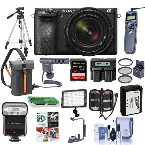 Cheap Sony Alpha A6500 Mirrorless Camera with 18-135mm f/3.5-5.6 OSS Lens – Bundle with 64GB SDxC Card, Camera Case, TTL R2 Flash, Spare Battery, Tripod, Remote Shutter Release, Video Light, More