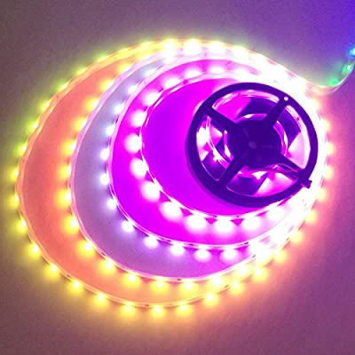 IKSACE 16.4ft WS2812B DC 12V Individually Addressable Programmable Dream Color LED Digital Strip 300LEDs 100ICs Pixel Strings 5050 RGB Flexible Colorful Rope LED strip (pack no remote controller) by IKSLED