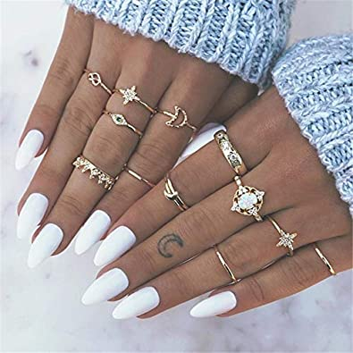 PAPPET Opal Knuckle Ring Vintage Bohemian Opal Knuckle Joint Rings Set for Women Gold Color Flower Crown Moon Midi Finger Rings Jewelry Gifts