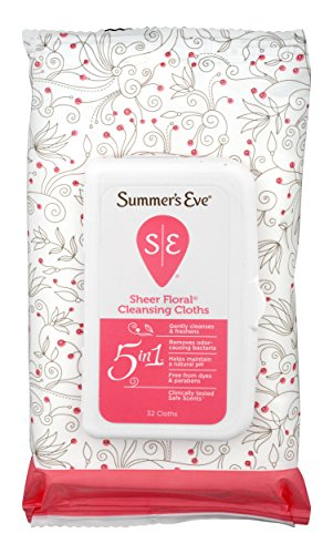 Summer's Eve Cleansing Cloths for Sensitive Skin - PH-Balanced - Help Wipe Away Odor Causing Bacteria - Doctor Tested - Sheer Floral Scent, -32 Cloths (Pack of 4)-Packaging May Vary (Powder Away Scent)