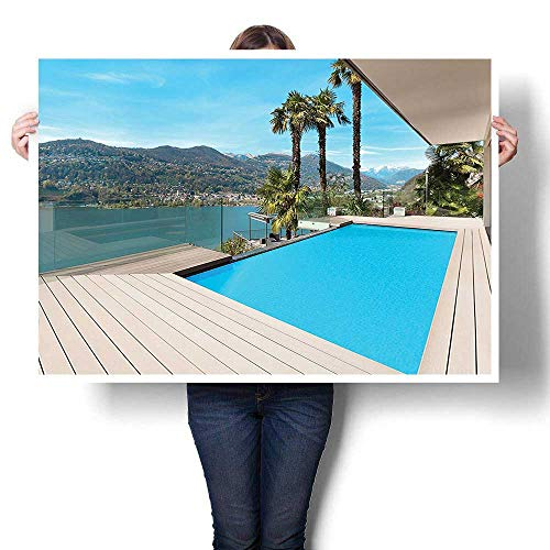 (SCOCICI1588 Canvas Wall Art Romantic Oil Painting,Collection Modern House Beautiful Patio with Pool Outdoor Wooden Deck Timber Residence Pho Oils,Prints on Canvas Painting,36