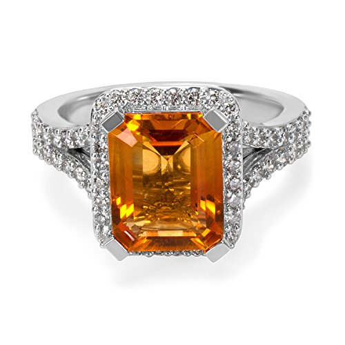 BRAND NEW Citrine Radiant Ring in 14K White Gold with Diamonds (0.75 CTW)