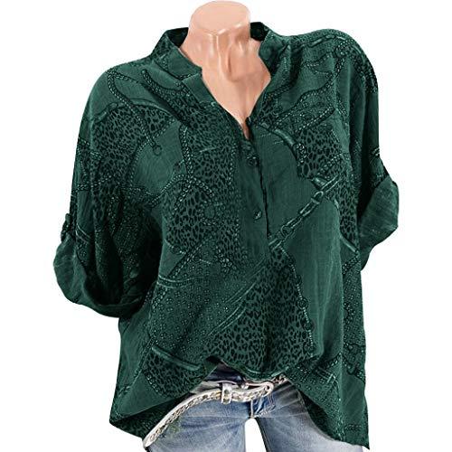 vermers Women Fashion Vintage Chain Print Plus Size T Shirts Casual V-Neck Half Sleeve Linen T-Shirt Tunic Tops Blouse(M, Green)