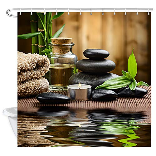 Zen Shower Curtain Basalt Stones Bamboo On Wood And Water