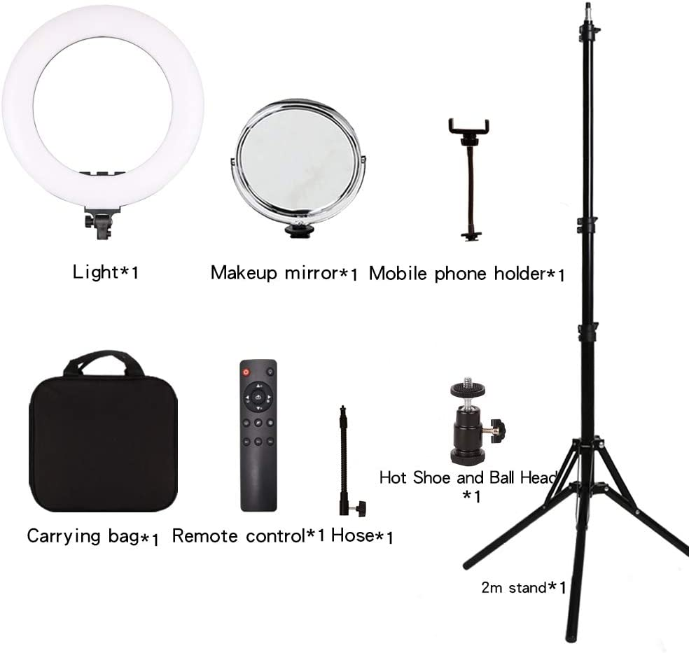 18 inch Light Without Hose LGJFOTSUNCY 18in 3000-6000k Bi-Color RA90 Dimmable Photography Light Live Selfie Video Beauty Light Makeup Light Camera Ring Light with Stand Remote and LCD Screen