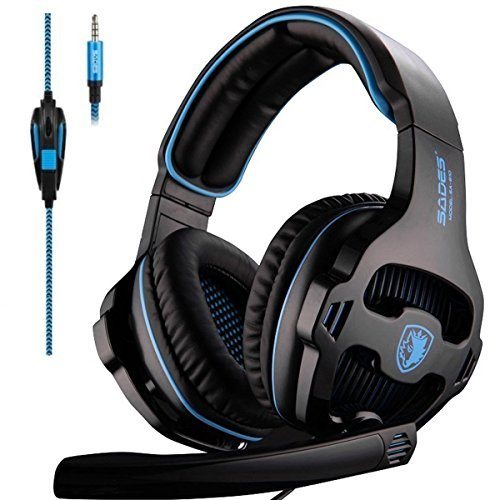 Sades SA810 Over-Ear Stereo Bass Gaming Headset with Noise Isolation Microphone for Xbox One PC PS4 Laptop Phone(Black Blue)