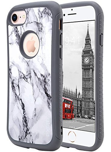 - ULAK iPhone 8 & 7 Case Slim Fit Slim Waist Series Shockproof Flexible Durability TPU Bumper Durable Anti-Slip Front and Back Hard PC Cover for Apple iPhone 7/8 4.7 inch, Artistic Marble Pattern