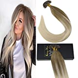 Sunny Balayage U Tip Hair Extensions Human Hair Color #14 Honey Blonde Mixed #60 Platinum Blonde Hair Extensions Hot Fusion Remy Human Hair Extensions,50g/pack,18inch