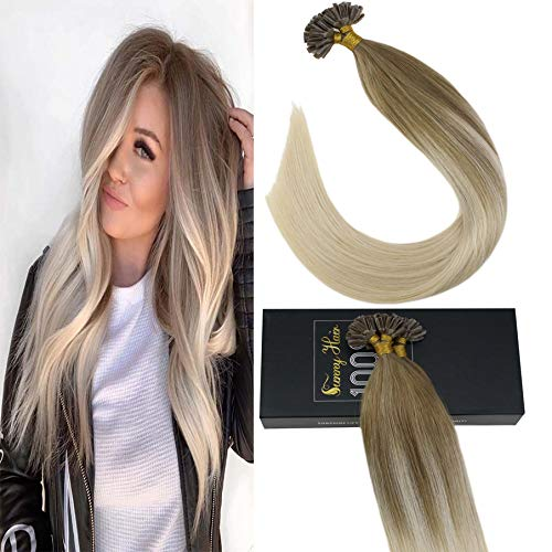 Sunny Balayage U Tip Hair Extensions Human Hair Color #14 Honey Blonde Mixed #60 Platinum Blonde Hair Extensions Hot Fusion Remy Human Hair Extensions,50g/pack,20inch (Keratip Extensions)