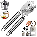 BENSEA Can Opener Manual Can Opener Smooth Edge Can Openers for Seniors and Arthritis Heavy Duty with Ergonomic Handle Ultra Sharp Safe Ideal for Commercial Beer Bottle Opener (Can Opener Manual)