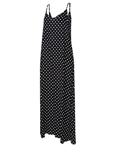 V Casual Black Tank Sleeveless Maxi Pockets Dress Neck with Dot Floral white Loose Summer Deep GloryStar Women's Dresses Midi xgXntt