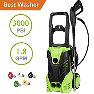 Flyerstoy 3000 PSI Electric Pressure Washer 1.7GPM, 1800W Rolling Wheels High Pressure Washer Cleaner Machine with Power Hose Nozzle Gun and 5 Spray Tips