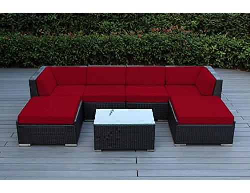 Ohana 7-Piece Patio Wicker Sectional Sofa Set with Cover, Sunbrella -