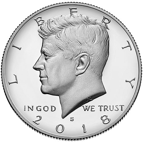 2018 S Silver Proof Kennedy Half Dollar Choice Uncirculated US Mint