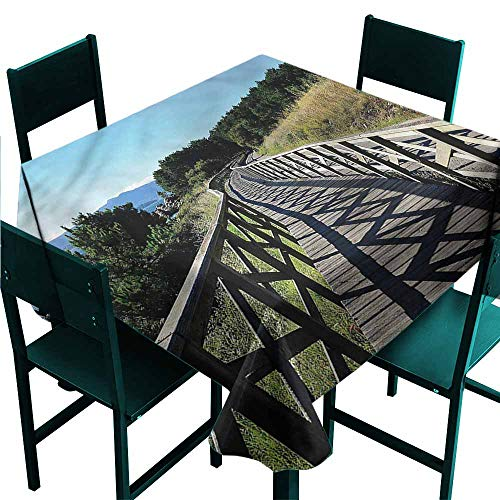 DONEECKL Antifouling Tablecloth Beach Wooden Cantilever Pathway Washable Tablecloth W36 xL36