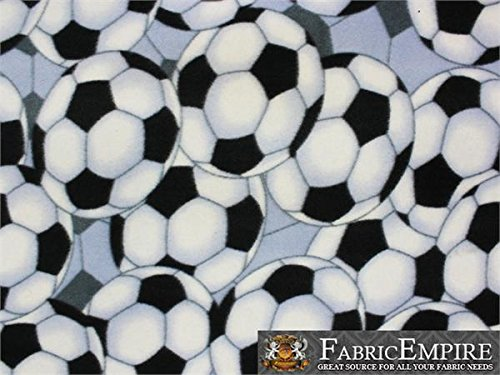 Fleece Printed Fabric SOCCER BALL PACKED / 58