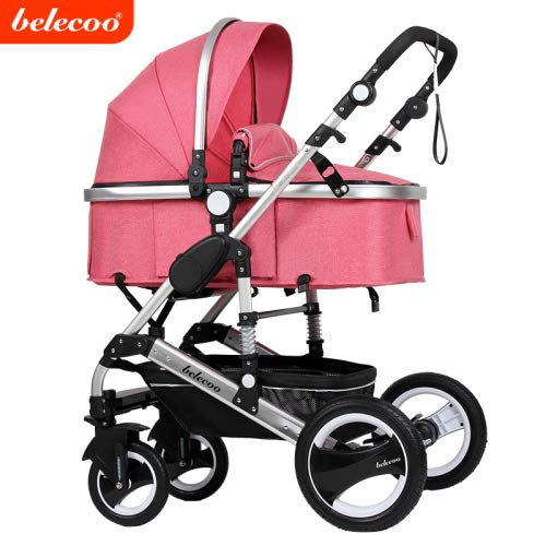 Belecoo Baby Stroller for Newborn and Toddler – Convertible Bassinet Stroller Compact Single Baby Carriage Toddler Seat Stroller Luxury Stroller with Cup Holder (Linen Rose)