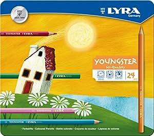 LYRA 2411240 M24 Youngster-  Estuche de metal con 24 lápices de colores [Importado de Alemania]