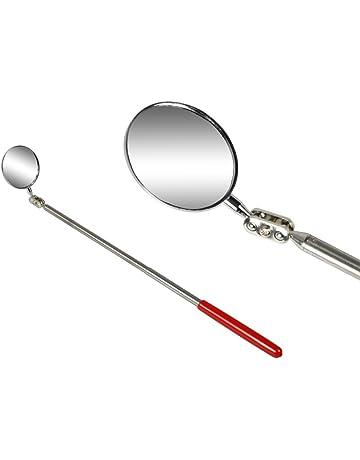 Specchio di Ispezione Allungabile Specchio di Ispezione con Luce Movimento Universale delle Ruote,Black Specchio Quadrato Acrilico per Veicoli Strumento di Ispezione per Veicoli