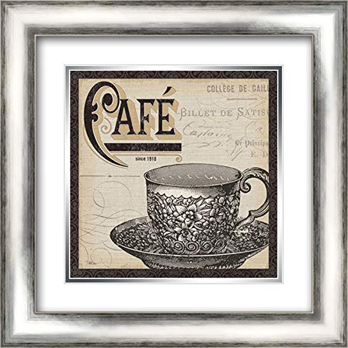 Antique Cafe II with Border 20x20 Silver Contemporary Wood Framed and Double Matted Art Print by Pela Studio
