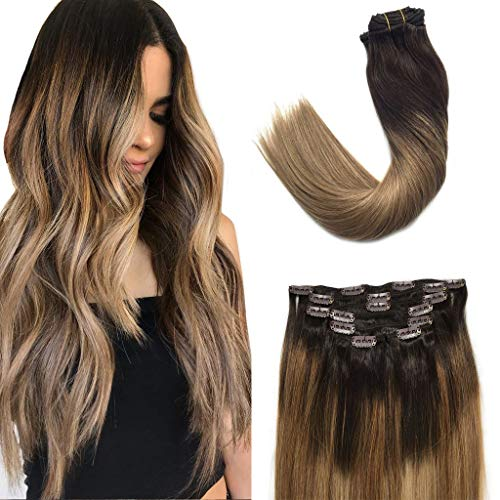 Googoo Remy Hair Extensions Clip in Human Hair Extensions Ombre Dark Brown Fading to Light Brown and Ash Blonde Natural Clip in Extensions Balayage Hair Extensions 7pcs 120g 16 inch (Best Human Hair Clip In Extensions)