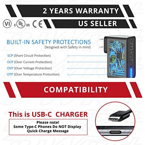 UL LISTED] Pwr+ 24W Extra Long 6.7 Ft Quick Charge 3.0 USB