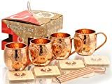 Solid Copper Mugs - Set of 4 - Highest Quality Gift Set – 100% HANDCRAFTED - Food Safe Moscow Mule Copper Mugs 16 oz Hammered with BONUS: Copper Straws and Coasters by Copper Cure