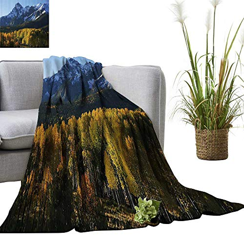 "YOYI Home Fashion Blanket Snow Village Mountain Retreat Colorado Park Pine Regi Peak Lightweight Blankets for Couch Bed Sofa 60""x63"""