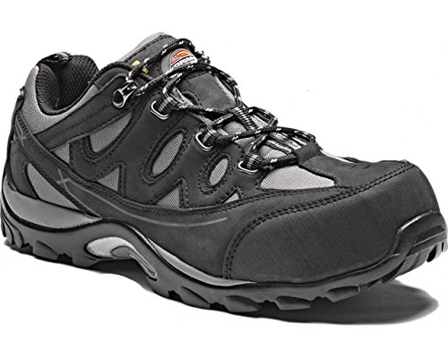 Mens Free Safety Toecap Non Black Midsole ALFORD Composite Metal UK Size 10 Dickies Work FC9512 Leather metallic Trainer Breathable Shoe Comfortable Protection Lightweight AxA8qrw
