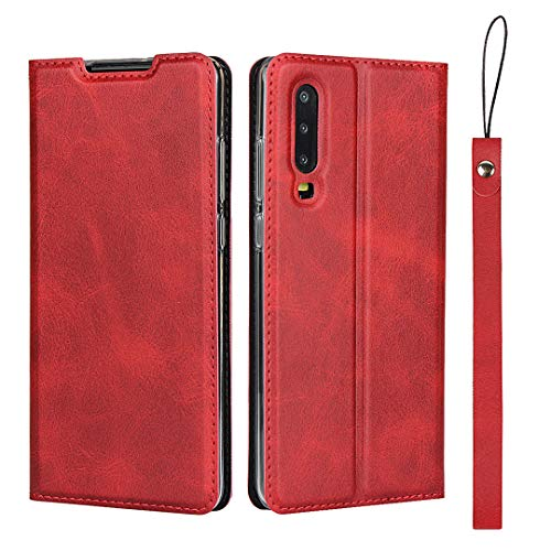 Huawei P30 Case, iCoverCase Leather Wallet Case Cover Shockproof Heavy Duty Protective Magnetic Flip Case [ With lanyard ] For Huawei P30 - Red