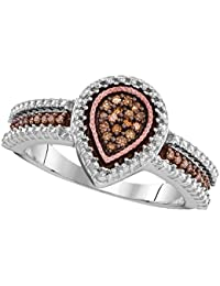 Sterling Silver Teardrop Brown Diamond Cocktail Ring Fashion Band Pear Chocolate Cluster Style 1/6 ctw