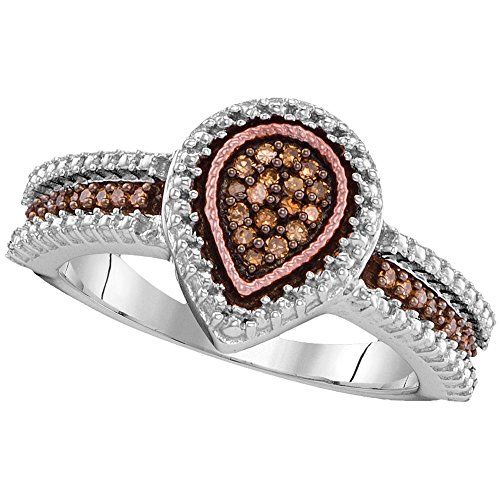Sonia Jewels Size - 8-925 Sterling Silver Rose Gold-Plated Round Chocolate Brown Diamond Engagement Ring OR Fashion Band Channel Set Pear Shaped Halo Ring (.15 -