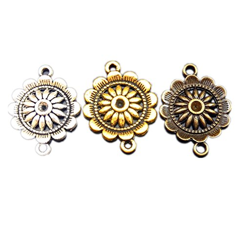 JulieWang Mixed lots Vintage Alloy Ramdon Lovely Round Flower Pendant Charms Connector (Round Flower Connector)