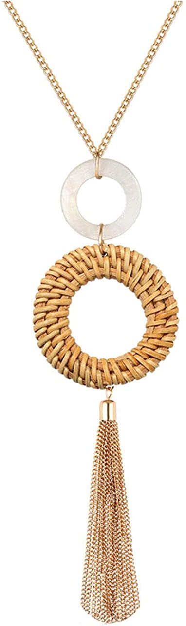 Urwomin Tassel Pendant Necklace Handmade Straw Wicker Braid Statement Pendant Y-Shaped Long Chain Necklace for Women