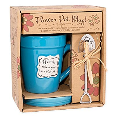 Divinity Boutique 92227 Mug-Saucer-Garden Spade Spoon-Bloom Where You Are Planted