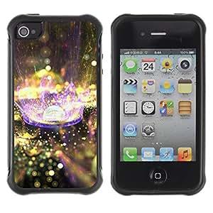 Híbridos estuche rígido plástico de protección con soporte para el Apple iPhone 4 / 4S - planet drop rain purple nature