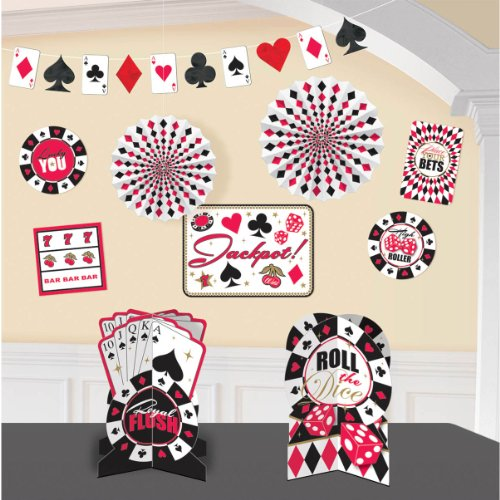 Casino Party Decorating Kit, Paper, Pack of 10. -