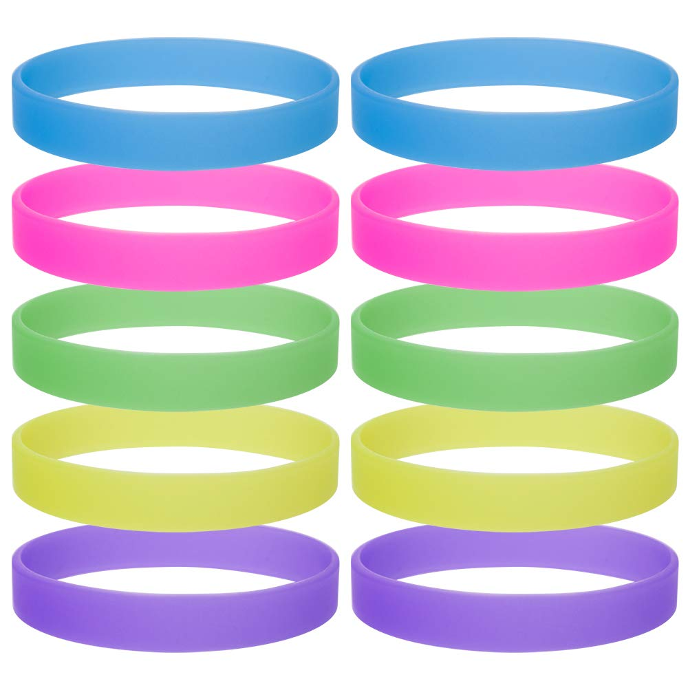 GOGO 10 PCS/Pack Glow-in-the-Dark Wristband Rubber Bracelet-Assorted-6packs DD05158_ASSORTED-6PACKS