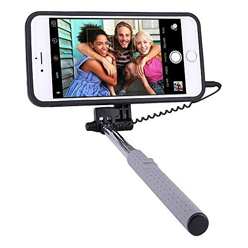 Price comparison product image PROG-X iPhone 6S Plus Selfie Stick,  Portable Extendable Monopod Wired Selfie Stick Case Cover for Apple iPhone 6 Plus / iPhone 6S Plus (Black)