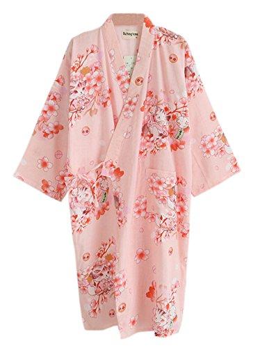 Women Cotton Japanese Kimono Sakura Printed Bathrobe Nightwear CC2584B (L, pink) (Kimono Cotton Japanese)