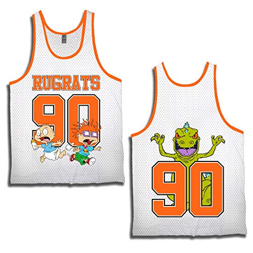 rugrats Mens Nickelodeon 90's Classic Tank Jersey - Reptar, Tommy, Chuckie & Phil Tanktop (White, Medium) -