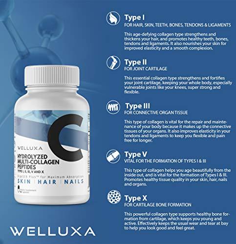 51 gaV4IRwL - Premium Multi Collagen Pills - Type I, II, III, V, X - Collagen Peptides for Anti Aging, Hair, Skin, Nails, Bones & Joints - Grass-Fed Hydrolyzed Collagen Capsules for Women & Men (90 Count)