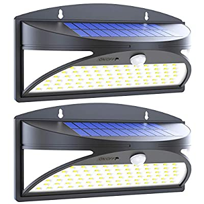 100 LED Solar Lights Outdoor, Waterproof Motion Sensor Solar Wall Lights, Super Bright Wireless Solar Powered Security Light with Wide Angle Illumination for Wall, Driveway, Patio, Garden, 2Pack