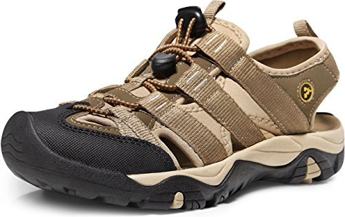 ATIKA Women's Sports Sandals Trail Outdoor Water Shoes 3Layer Toecap, All Terrain Orbital(w107) - Khaki, 7