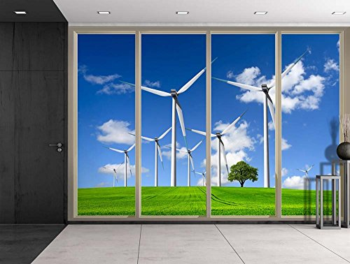 Lone Tree on a Field with Plains Viewed From Sliding Door Creative Wall Mural Peel and Stick Wallpaper