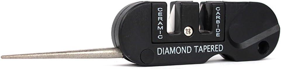 Afilador de bolsillo con tres etapas: cerámica, carburo y diamante, para cuchillos